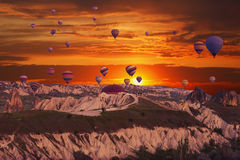 Multi-colored balloons in the sky of Cappadocia Stock Image