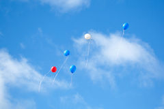 Multi colored balloons in the sky Royalty Free Stock Photos