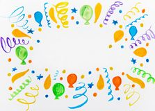 Multi-colored balloons watercolor Royalty Free Stock Images