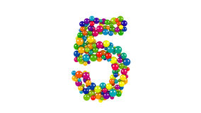 Multi-colored balls in the shape of number five. Various sized green, red, blue and yellow balls in the shape of the number five over white background stock illustration