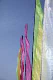 Multi-colored banners. Several multi-colored banners at a kite festival Stock Photo