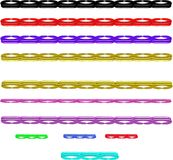 Multi colored bar lines in 3d. 3d bar line separators in multi colors and styles in 3d on white Royalty Free Stock Photography