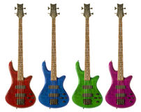 Multi-colored bass guitars Royalty Free Stock Photos