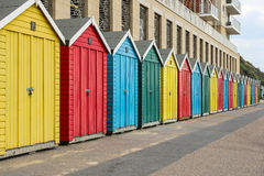 The multi-colored beach huts Royalty Free Stock Photos