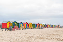 Multi-colored beach huts at Muizenberg Royalty Free Stock Photo
