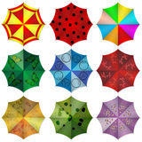 Multi colored beach umbrellas. Vector illustration Royalty Free Stock Image