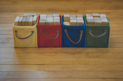 Multi-colored Bins of Wooden Toy Blocks Stock Image