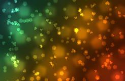 Multi-colored bokeh van harten Stock Foto