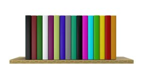 Multi-colored books on the shelf. Home library. 3D Rendering. Multi-colored books on the shelf. The concept of personal growth. Home library. 3D Illustration royalty free illustration