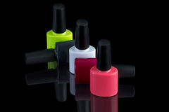 Multi-colored bottles of nail polish Royalty Free Stock Photos