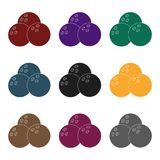 Multi colored bowling balls.Bowling fun at the pub. Pub single icon in black style vector symbol stock illustration. Multi colored bowling balls.Bowling fun at Royalty Free Stock Images