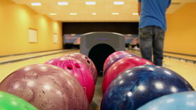 Multi-colored bowling balls Royalty Free Stock Image