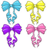 Multi-colored bows. Doodle art Stock Images