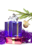 Multi colored boxes with christmas gifts Stock Image