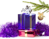 Multi colored boxes with christmas gifts Stock Photography