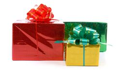 Multi-colored boxes with presents Royalty Free Stock Image