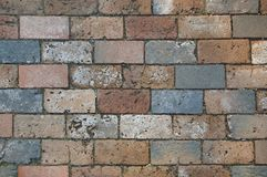 Multi-colored brick work texture stock photography