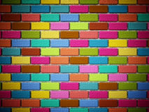 Multi colored bricks forming a wall. 3D illustration Royalty Free Stock Photography