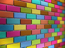 Multi colored bricks forming a wall. 3D illustration Stock Images
