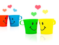 Multi-colored bright cups Royalty Free Stock Photography