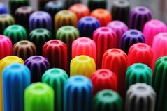 Many bright markers, caps stock photography