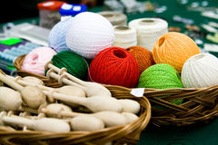 Multi-colored bright skeins of thread Royalty Free Stock Photos