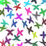 Multi-colored butterflies. In bulk on a white background Stock Images