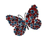 A multi-colored butterfly made of flowers. Mixed media. Vector illustration