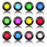 Multi-colored buttons. From black metal Royalty Free Stock Image