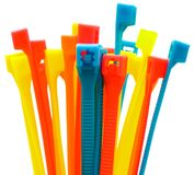 Multi colored cable ties. Isolated over white Royalty Free Stock Photos