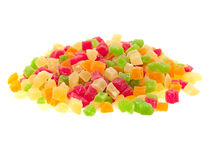 Multi-colored candied fruits. A bunch of colorful candied fruits. On a white background royalty free stock images