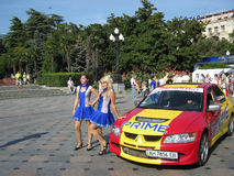 Multi-colored car on the Yalta Prime Rally Stock Photo