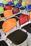 Multi colored chairs arranged in the room. Colorful office chairs Royalty Free Stock Photo