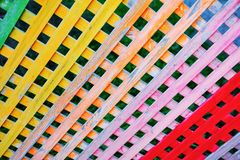Multi colored checkered wooden fence royalty free stock images