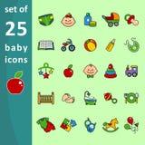 Multi-colored children icons Stock Photo