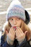Multi-colored children`s pastel manicure.Winter nails. stock photo