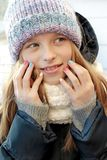 Multi-colored children`s pastel manicure.Winter nails. stock images