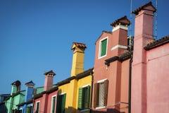 Multi-colored chimneys, Burano, Italy Royalty Free Stock Photos