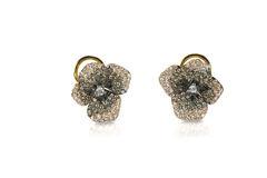 Free Multi Colored Chocolate White And Black Diamond Floral Earrings Royalty Free Stock Images - 40299129