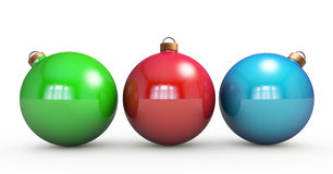 Multi-colored Christmas balls hanging on white. RGB colors. 3d r Stock Images