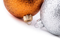 Multi colored christmas balls on white background. Stock Image