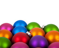 Multi-colored christmas ornament/baubles royalty free stock image