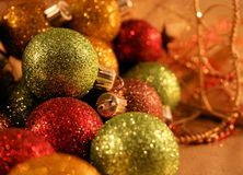 Multi Colored Christmas Ornaments royalty free stock images