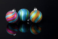Multi-colored Christmas ornaments Stock Images
