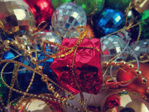 Multi-colored Christmas toys Royalty Free Stock Images