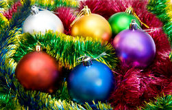 Multi-colored Christmas tree balls Royalty Free Stock Image