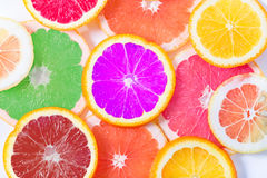 The multi-colored citrus of artificial color cut by circles lies Stock Image