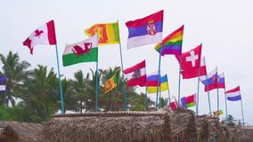 Flags of different countries fluttering in the wind. Sunny day on vacation in the tropics on the beach. stock video footage