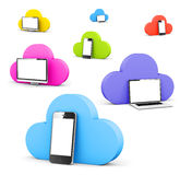 Multi colored cloud shape bubble with phone monitor and laptop Royalty Free Stock Photography