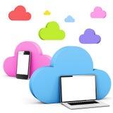 Multi colored cloud shape speech bubbles communication. Multi colored cloud shape speech bubble with phone and laptop Stock Images